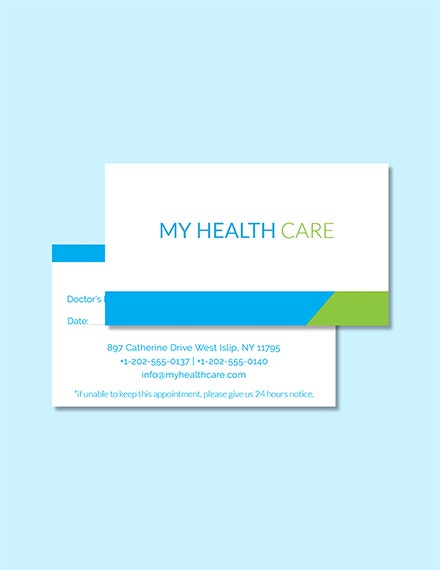 health care appointment card template