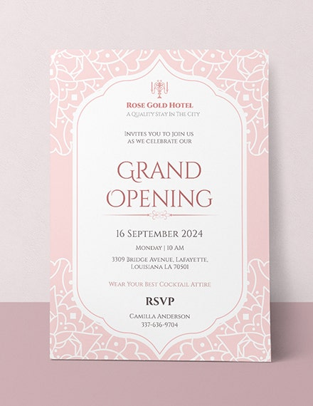 hotel business opening invitation sample