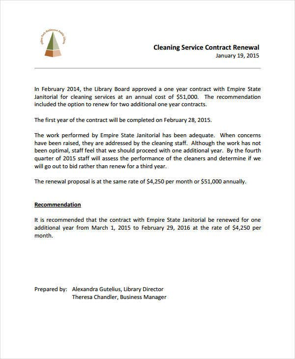janitorial service contract renewal