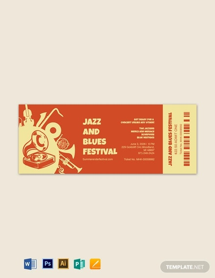 jazz festival ticket template