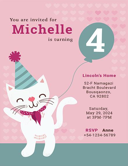 kitty birthday invitation template