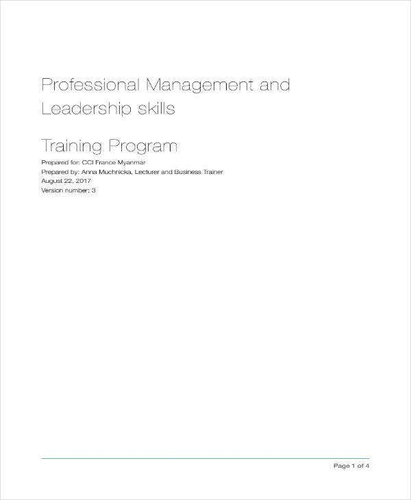 leadership training program proposal