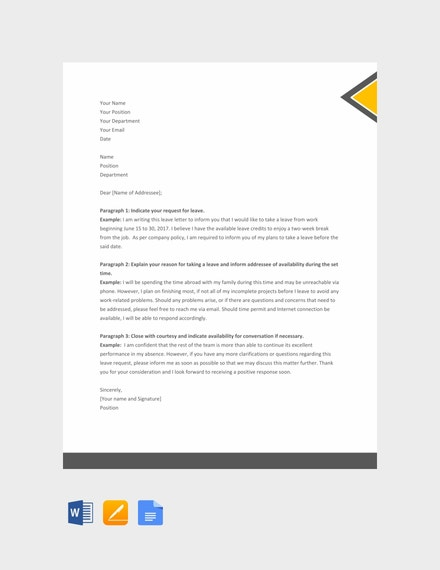leave letter format for office example