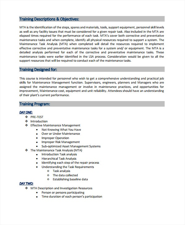 maintenance task training analysis