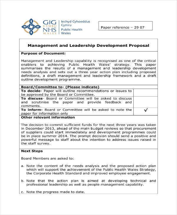 management and leadership development proposal