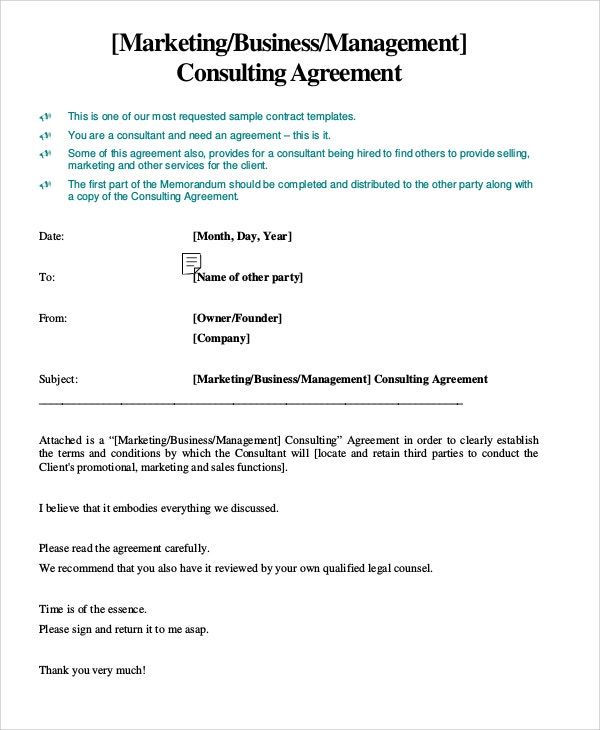 marketing business management consultant contract