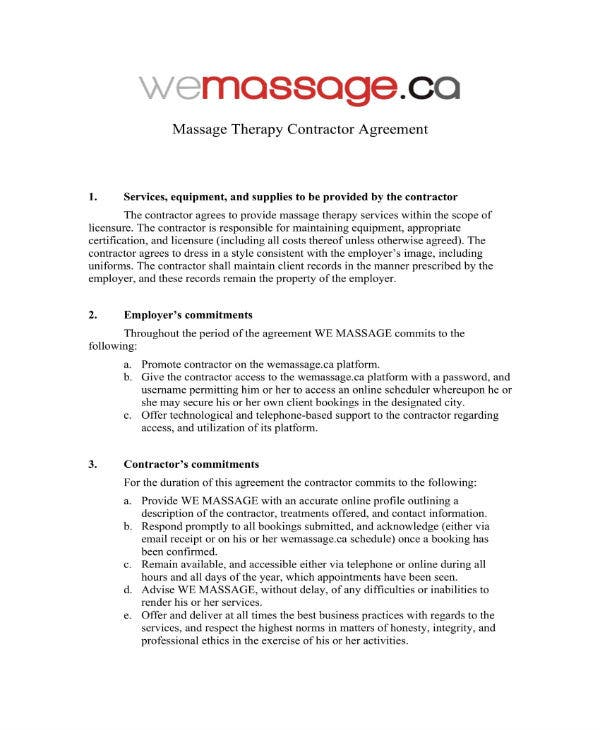 massage therapy contractor agreement 1
