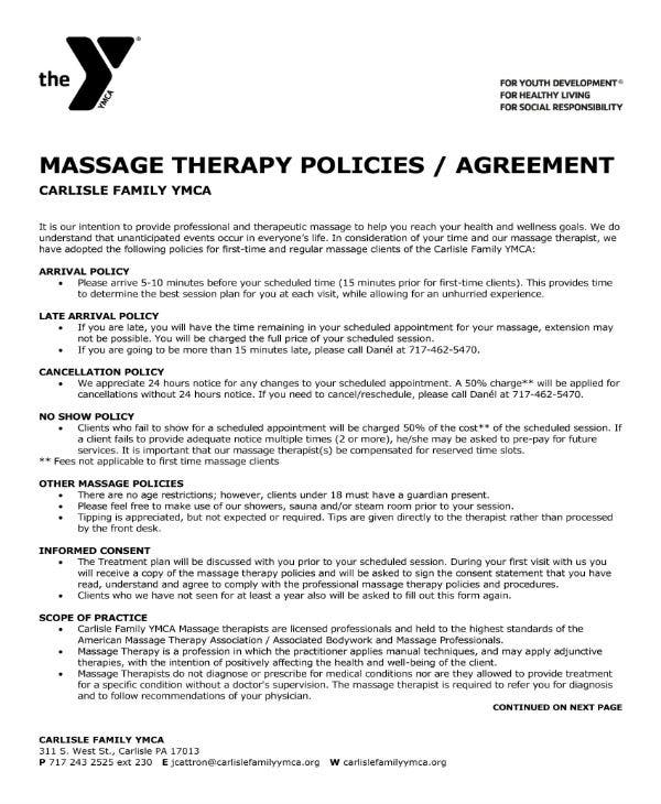massage therapy policies and agreement 1