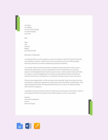 maternity leave letter sample