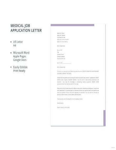 Medical Job Application Letter