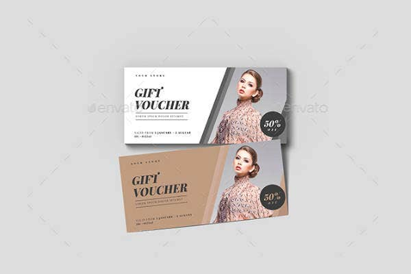 minimal fashion gift voucher template