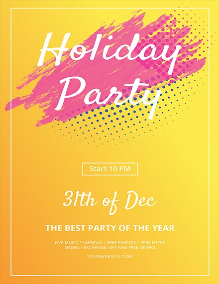 minimal holiday party flyer template