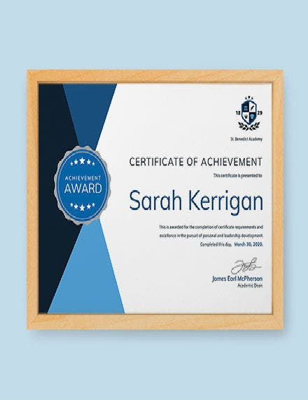 MockUp Academic Achievement Certificate Template 440px