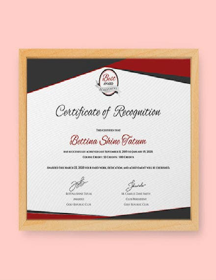MockUp Certificate of Recognition Template 440px