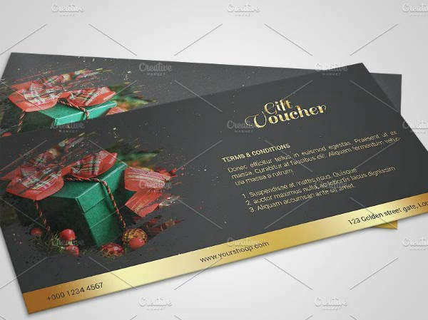modern christmas gift voucher template