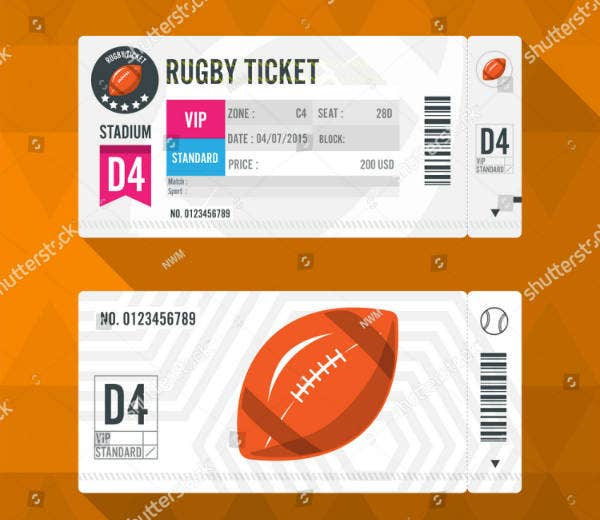 Modern Rugby Ticket Template