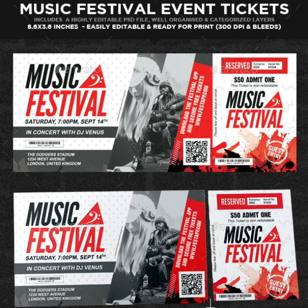 Music Festival Event Ticket Template