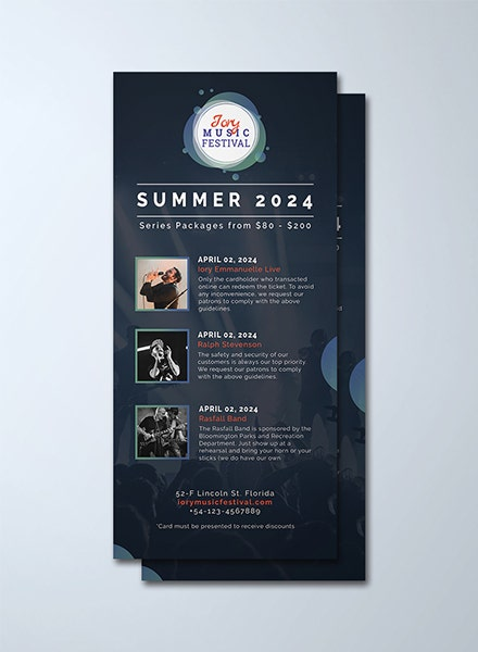 music festival rack card template