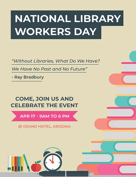 National Library Worker Poster Template