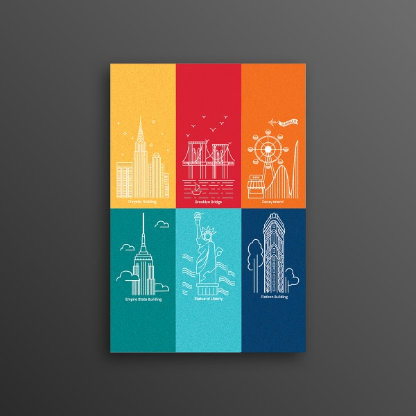 New York Linear Postcard Template
