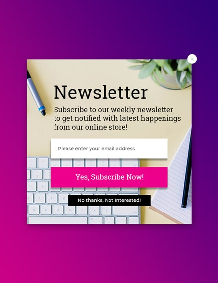 newsletter subscription pop up template
