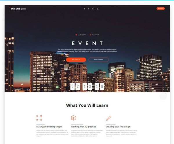 novi event planner website template