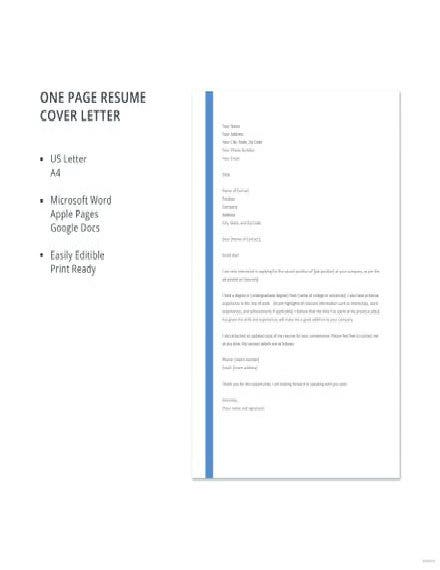 One Page Resume Cover Letter
