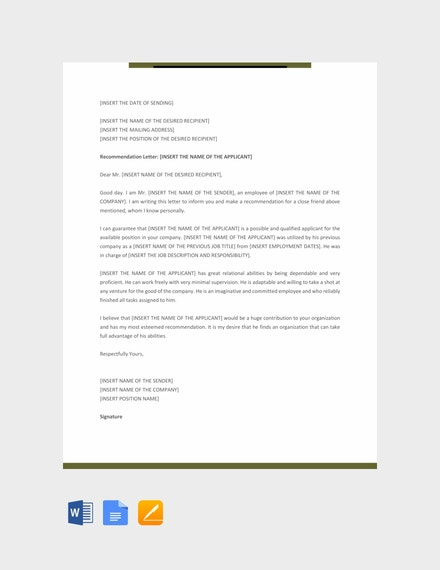 personal recommendation letter example