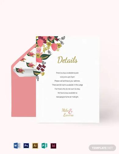pink floral wedding details card template