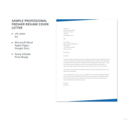 professional fresher resume cover letter