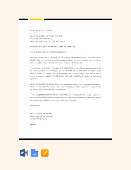professional recommendation letter template