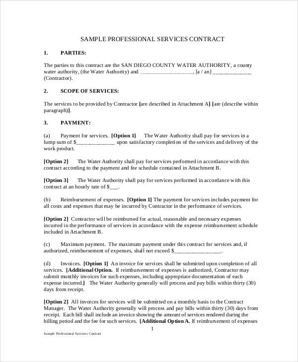 professional services agreement contract