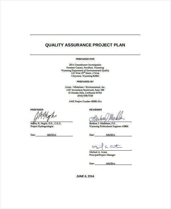 Quality Assurance Plan Template
