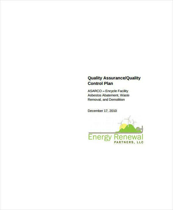 Quality Assurance and Control Plan Sample
