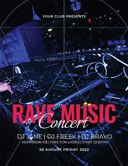 rave music concert flyer 1x1
