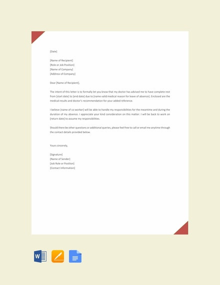 request letter for leave sample