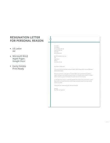 Resignation Letter Template for Personal Reason