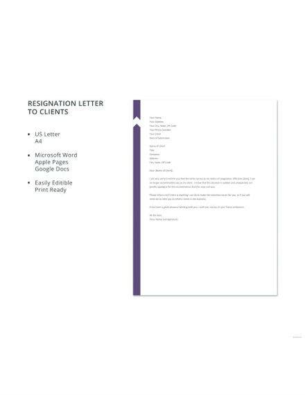 Resignation Letter to Client Template