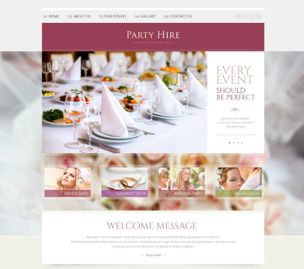 responsive party planner website design