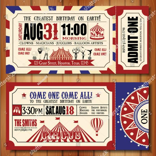 retro carnival event ticket template