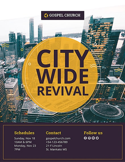 revival city church flyer template