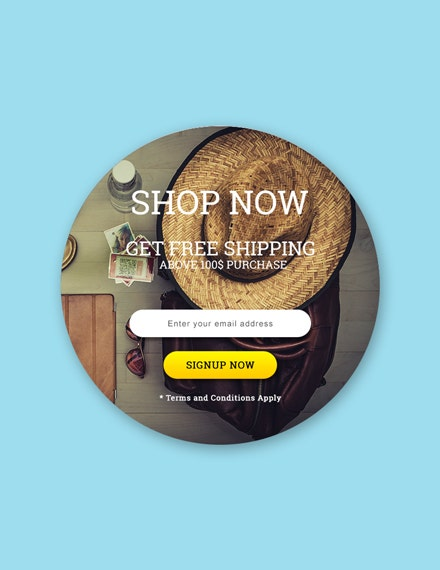 round shop now pop up template