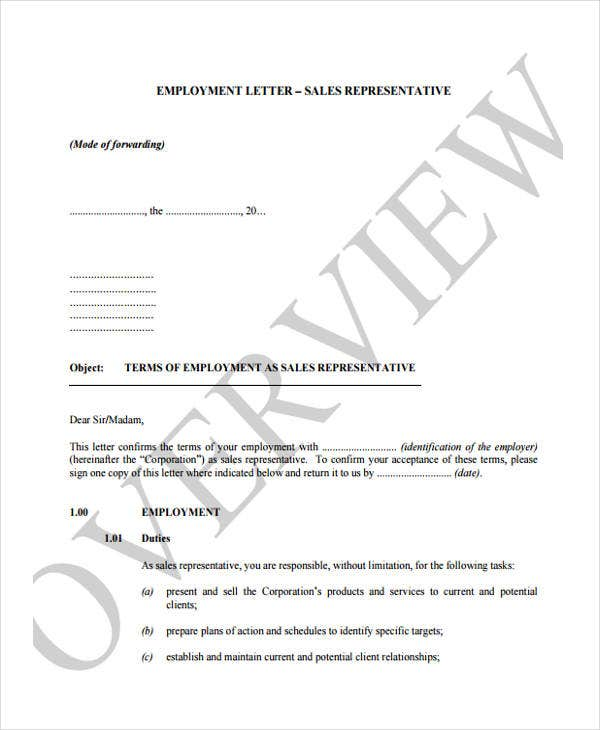 sales representative employment joining letter