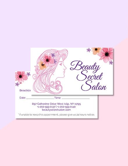 salon appointment card template