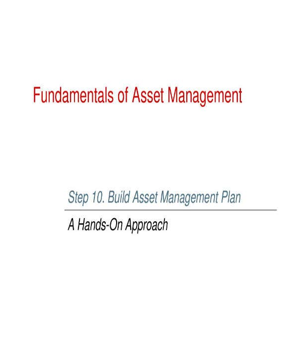 sample asset management plan