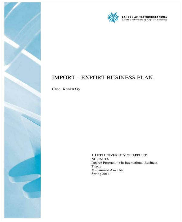sample import and export business plan
