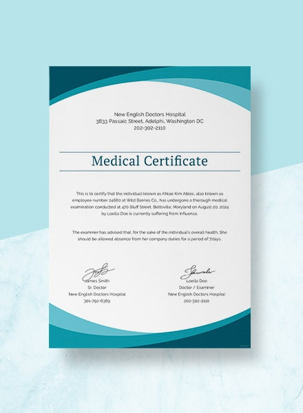 sample medical certificate template