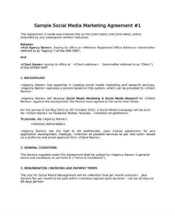 3  social media marketing contract templates