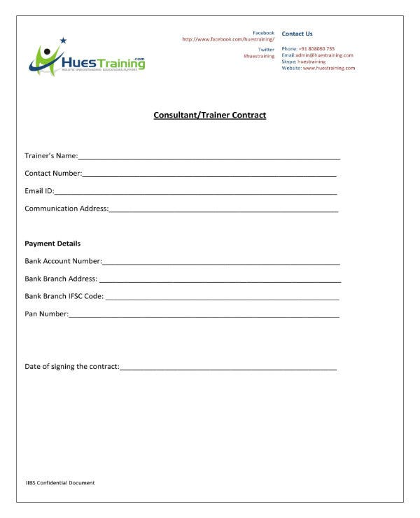 sample training consultant contract 1