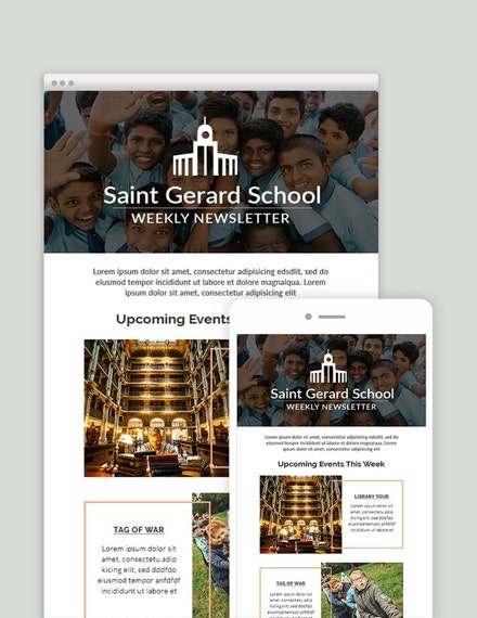 school weekly mail newsletter template example